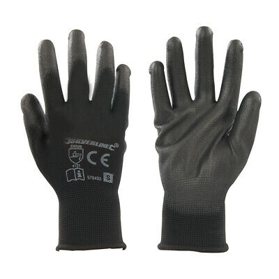 SMALL Black Gloves - 13-Gauge Knitted & Poly-Coated Palms & Fingers - Open Back