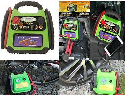 Portable 12v 5 IN 1 Car Jump Starter Air Compressor Battery Booster Charge led