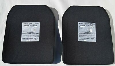 Hawk Black RF1 Ballistic Plate Set Of 2 For Stab Vest Upgrade Like NIJ L3 SAPI