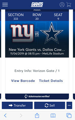 Dallas Cowboys vs New York Giants Tickets 11/04/2019 CHEAP - JUST REDUCED