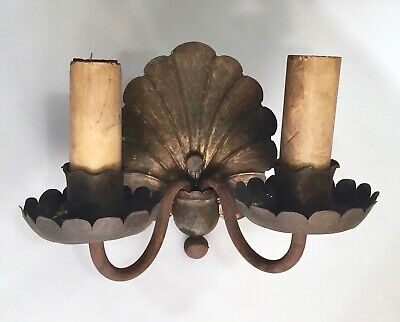 Antique Hand Hammered Brass 2 Arm Wall Sconce Lamp Seashell Design