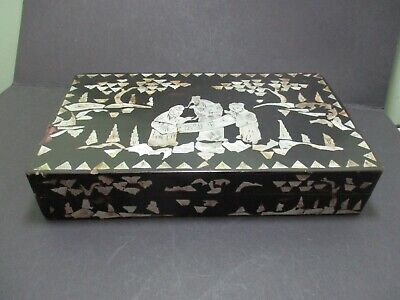 Antique Chinese Box With Mother Of Pearl Inlay