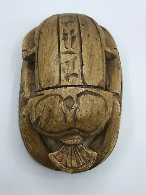 Rare EGYPTIAN ANTIQUES EGYPT SCARAB Beetle Sculpture HIEROGLYPHS Carved STONE BC