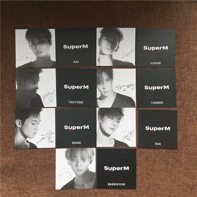 7pcs Kpop SuperM 1st Mini Album Jopping Signed Photocards BAEKHYUN TAEMIN TEN