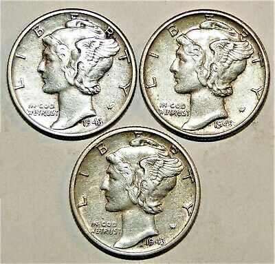 1943 PDS  Set of three Mercury Dimes circulated 90% Silver XF  Extra Fine