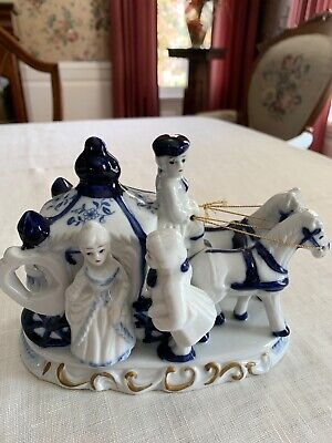 Blue and White with Gold trim Horse Coach including 3 people