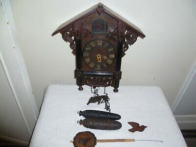 Antique,Black Forest, Cuckoo Clock, Wooden Frame Movement. For Restoration.
