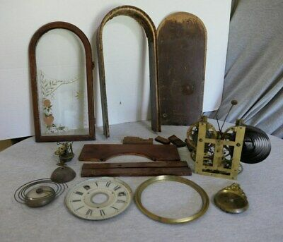Lot Antique Oak Brass Mantle Clock Parts Face Bezel Hand Painted Glass Steampunk