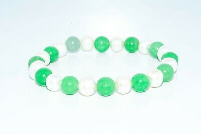 $350 7.76Mm/51.00Ct Natural Green Jade & White Pearl Stretchy Bracelet