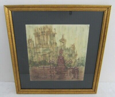 Rainy Day in Paris Signed Abstract Modernist Watercolor Painting Framed 14x15