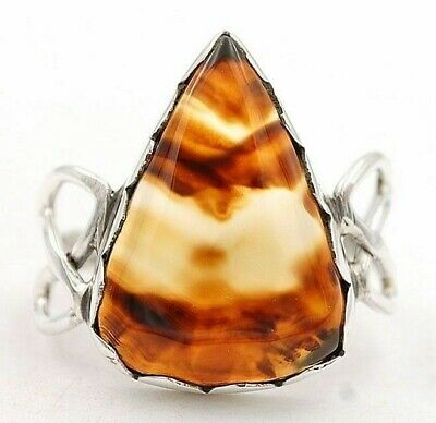 Wonderful Art Banded Agate 925 Sterling Silver Ring Jewelry Sz 7.5, H5-1