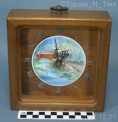 Vintage Hand Painted Covered Bridge Tile Wooden Frame Wall Mantle Clock (FF)