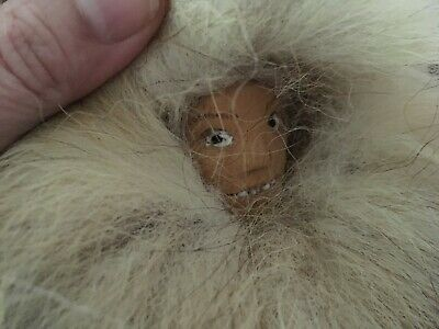 Vintage Alaska Eskimo Inuit Doll Indigenous Fur Clothing Wooden Carved Face