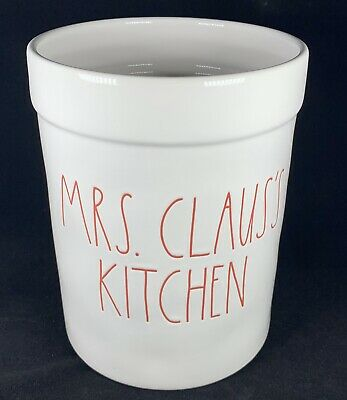 NEW  Rae Dunn  LL MRS. CLAUS'S KITCHEN CROCK RED LETTER FARMHOUSE Christmas