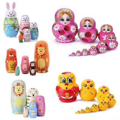 5/7/10Pcs Cute Babushka Nesting Doll Matryoshka Wooden Russian Painted Doll Toys