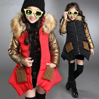 Winter Kids Girls Puffer Padded Jacket School Quilted Parka Fur Hooded Long Coat