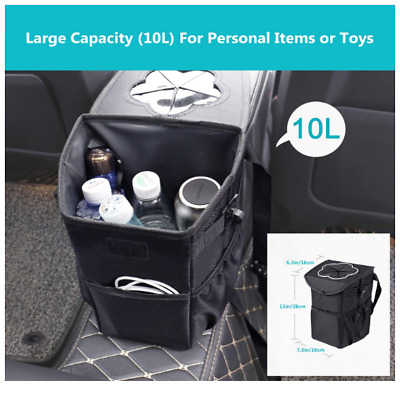 Foldable and Waterproof Auto Trash Bag Car Rubbish Bin with Lid and Side Pocket