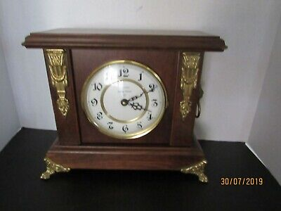 Ansonia Oak Wood Mantel Clock With Antique Lion Knock And Brass Hard Ware