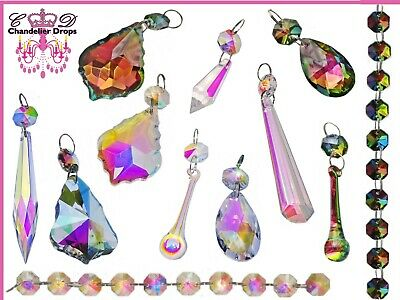 Iridescent Glass AB Crystals Beads Chandelier Lamp Light Parts Prisms Drops