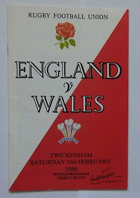 England Wales  Rugby Union Programme 1980
