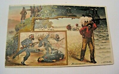 Antique 1892 Mississippi Victorian Trade Card ~ Cotton Fields Civil War Soldiers