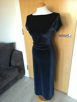 Ladies Velvet Dress Size Black Midi Stretch Vintage M&S ST MICHAEL Party Evening