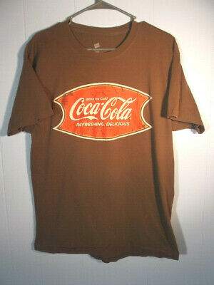 Coke Coca Cola Soda Soft Drink Beverage Brown Distrested Look Large T-shirt