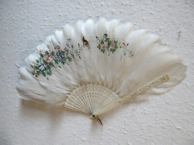 Zauberhafter Fächer handbemalte Federn, enchanting antique fan handpainted 1900