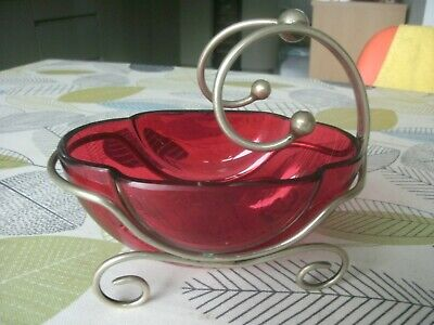 vintage cranberry glass bonbon dish in a silver plate stand 13cm long