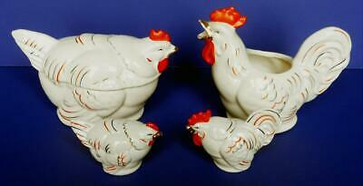 Vintage 4 pc Japan Chicken Rooster Set Salt & Pepper Covered Sugar Cream Pitcher