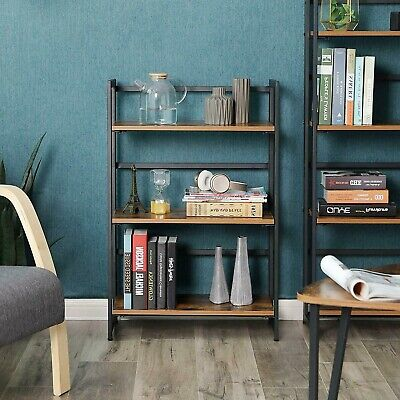 Small Industrial Bookcase Metal Wood Foldable 3 Shelving Unit Rustic Storage NEW