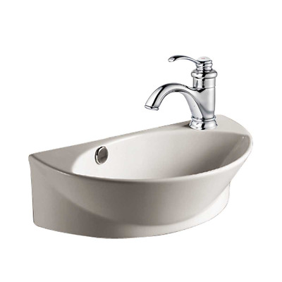 Small Wall Mount Vessel Sink White Porcelain Ceramic Single Faucet Hole And
