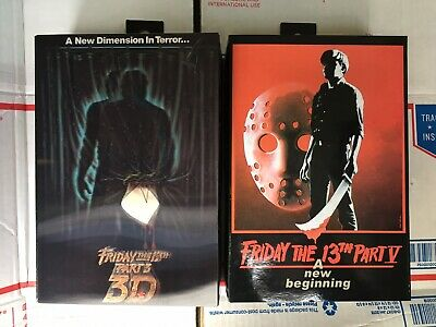 "Neca Friday The 13th Lot Of 2 Ultimate Jason Vorhees Parts 3 & 5 7"" Figures"