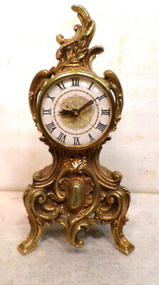 French Style Deco Brass Finished Mantle Clock American Made