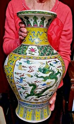 Vintage Chinese Porcelain Large Vase Famille Verte Enamels Dragons Marked