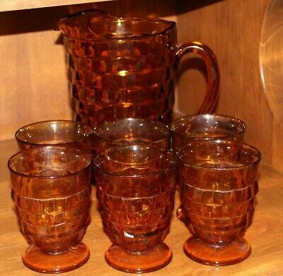 VINTAGE Indiana Glass by Colony, Whitehall Amber Pitcher & 6 Glasses Cubist