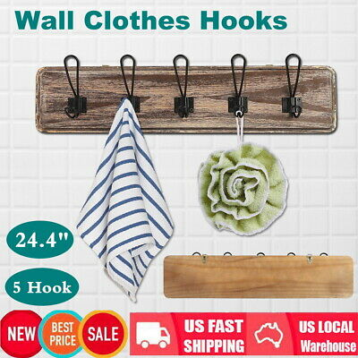 """Rustic Entryway Hooks Wall Mounted Farmhouse Vintage Wire Coat 5 Hooks 24.4*5.5"""""""