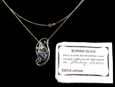Ancient Roman Blue Multi Colored Glass Sterling Authentic DIDYA  Pendant