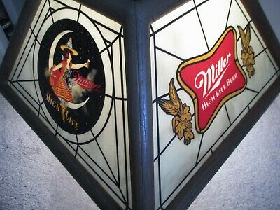 1984 MILLER HIGH LIFE MOON GIRL Light Up BEER SIGN Pool Table Lamp BAR MAN CAVE