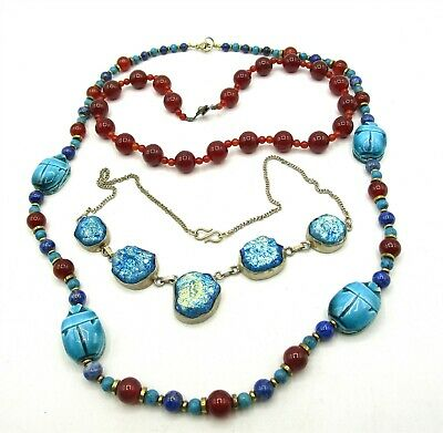 Assorted Stone Necklace Lot of Three W/Ceramic Scarabs TS355
