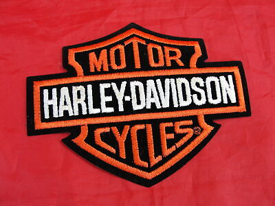 Harley Davidson Motorcycle Bar & Shield Orange On Black Patch Embroidered 5 3/4""