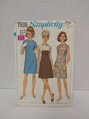 VTG Simplicity 7535 Misses Dress Sewing Pattern Size 14 Bust 36