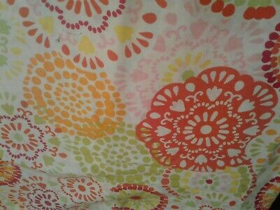 Large Multi Color Circle Designs on White.Fabric Scrap Quilt Sew Craft