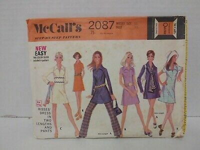 Vintage McCall's Sewing pattern 2087 60's  Misses size 16 Bust 38 dress & pants