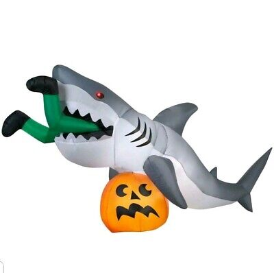 Brand New 9Ft. Halloween Inflatable Shark Decoration Outdoor Animated Got Caught