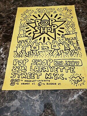 Keith Haring Pop Shop Poster hand drawn and signed w/letter of authenticity