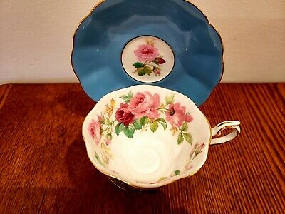 ROYAL ALBERT BONE CHINA CUP & SAUCER ROSES Turquoise Blue Gold