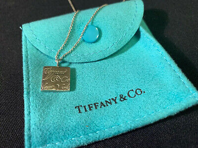 Authentic Tiffany & Co. Notes Square  Pendant Necklace Sterling Silver 16