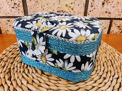 Small Daisy Patterned Sewing Mending Storage Basket Box near new