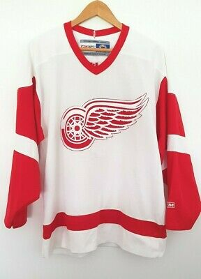 CCM NHL DETROIT RED WINGS Mens Hockey Supporters Blank Jersey size L EUC